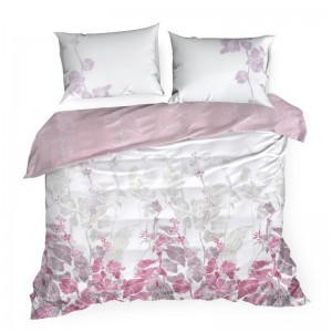 Biele posteľné obliečky s motívom ružových listov