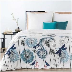 Biele posteľné obliečky s motívom púpav