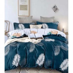 Tmavomodré posteľné obliečky s motívom pierok