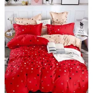 Červené posteľné obliečky s motívom srdiečok