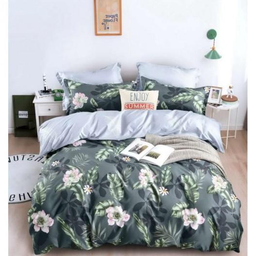 Šedé posteľné obliečky s mtívom kvetov v ružovej farbe