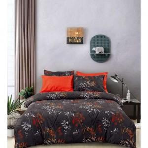Šedé posteľné obliečky s červenou potlačou