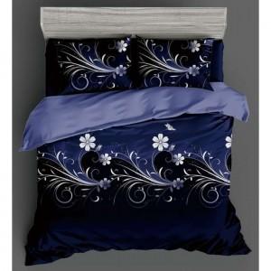 Tmavodmoré posteľné obliečky s jemnou potlačou