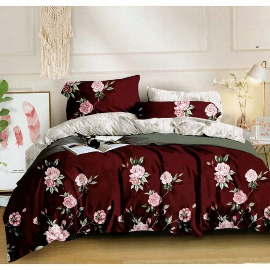 Bordové posteľné obliečky s motívom ruží
