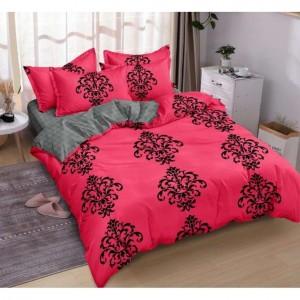 Ružové posteľné obliečky s čierným motívom
