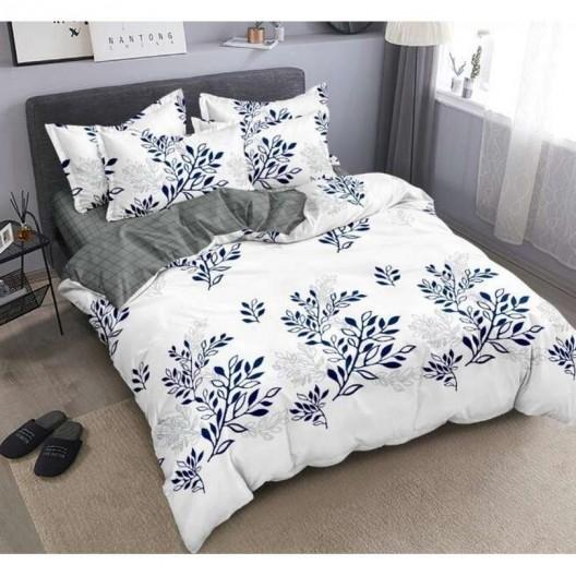 Biele posteľné obliečky s potlačou listov