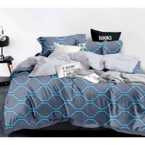 Sivé posteľné obliečky geometrickým motívom modrej farby