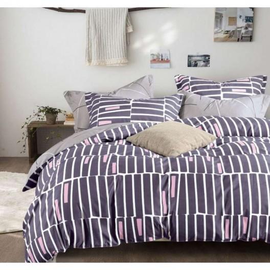 Šedé pruhované posteľné obliečky