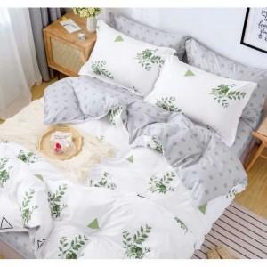 Biele posteľné obliečky s motívom zelených listov