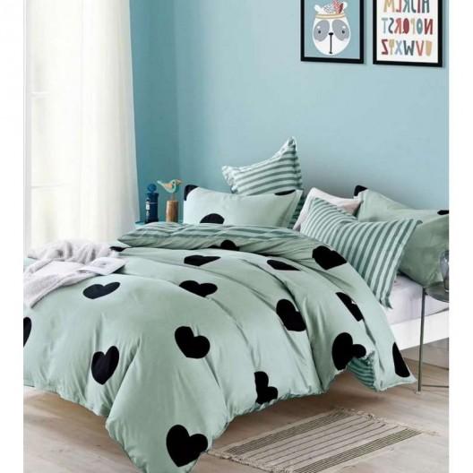 Zelené posteľné obliečky s motívom sŕdc