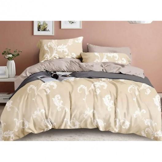 Béžové posteľné obliečky s bielym ornamentom