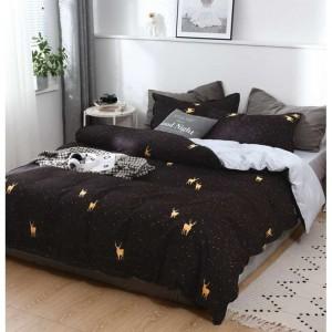 Čierne posteľné obliečky so zvieracím motívom