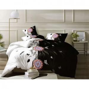 Bielo-čierne posteľné obliečky s ornamentom mandali