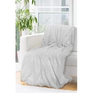 Mäkká svetlo sivá hrubá deka 150 x 200 cm