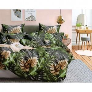 Šedé posteľné obliečky s moderným motívom hnedo-zelených listov