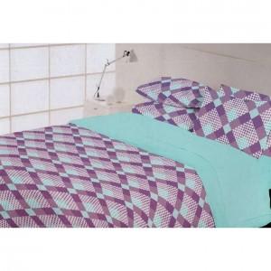Fialovo mentolové kárované posteľné obliečky