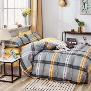 originálne sivo žlté posteľné obliečky s geometrickým motívom
