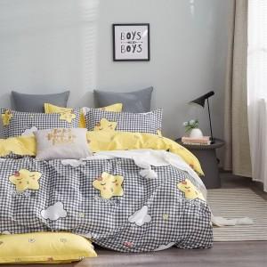 Krásne detské žlto čierne obojstranné posteľné obliečky s hviedičkami