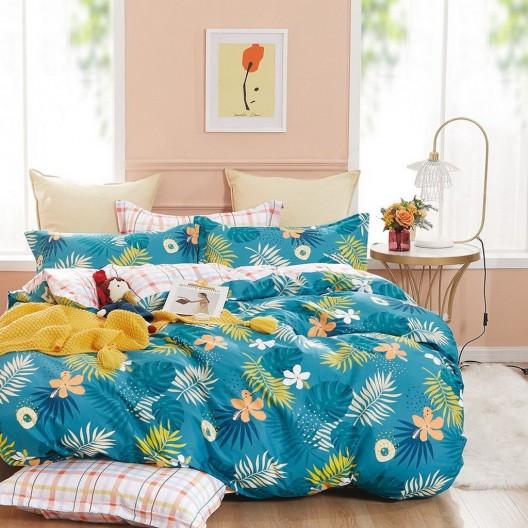 Farebné obojstranné modré posteľné obliečky s motívom kvetov
