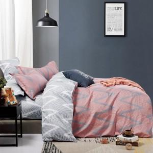 Štýlové ružovo sivé obojstranné posteľné obliečky v etno designe
