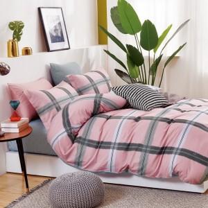Originálne obojstranné rúžové posteľné obliečky s károvaným vzorom
