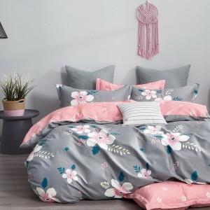 Originálne sivé  obojstranné posteľné obliečky s motívom kvetov