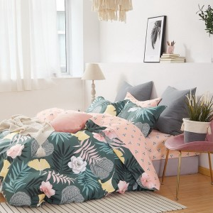 Krásne moderné zelené obojstranné posteľné obliečky s prírodným motívom