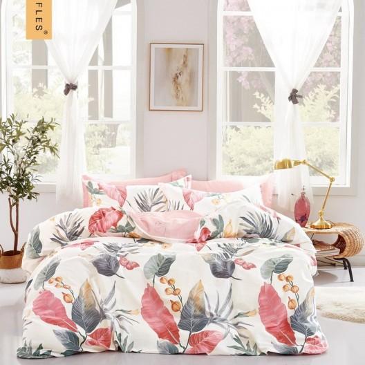 Krásne moderné rúžové obojstranné posteľné obliečky s prírodným motívom