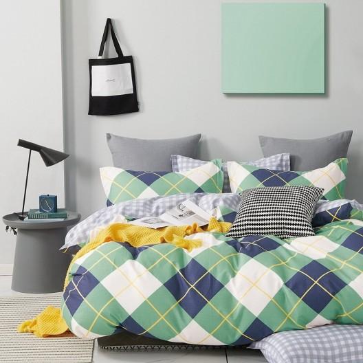 Originálne moderné zelené obojstranné posteľné obliečky