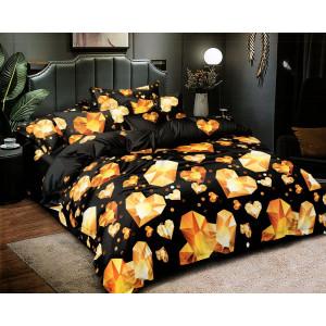 Luxusné čierne posteľné obliečky s diamantovými srdciami