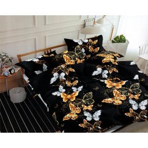 Brilantné čierne posteľné obliečky s motýľmi