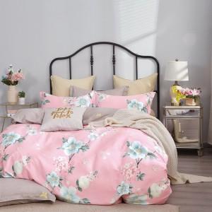 Originálne rúžové pohodlné posteľné obliečky s motívom kvetov