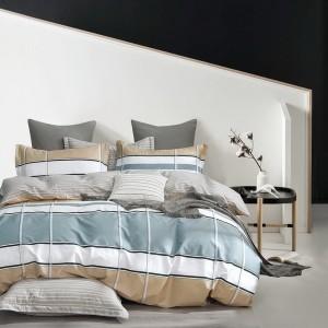 Kárované posteľné obliečky šedo-béžovej farby