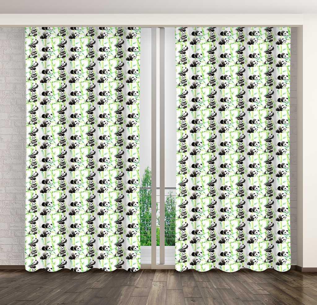 Krásny zelený záves do detskej izby s motívom pandy