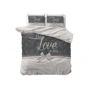Luxusné bielo sivé bavlnené posteľné obliečky PURE LOVE 200 x 220 cm