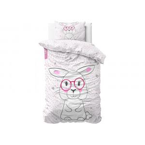 Kvalitné bielo ružové bavlnené detské posteľné obliečky s motívom zajaca BUNNY 140 x 200 cm