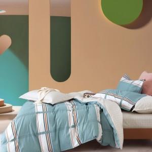 Kárované postelné obliečky v zelenej farbe