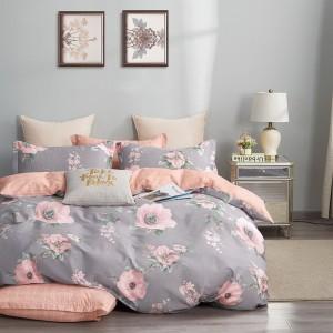 Bavlnené posteľné obliečky v sivej farbe s veľkými rúžovými kvetmi