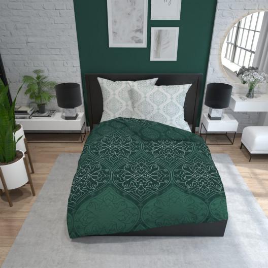 Krásne zeleno sivé bavlnené posteľné obliečky s ornamentom