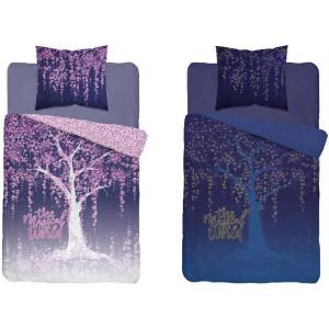 Originálne fialové svietiace bavlnené posteľné obliečky MAGICAL WORLD