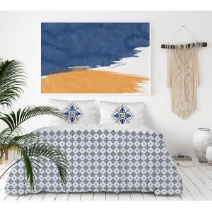 Vysoko kvalitné biele posteľné obliečky bavlnený satén s ornamentom