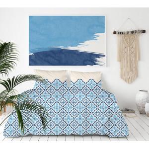 Nadčasové modré posteľné obliečky z kvalitného bavlneného saténu