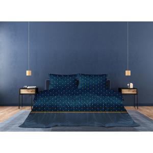 Luxusné tmavo modré vzorovae posteľné obliečky bavlnený satén