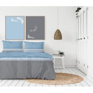 Fenomenálne sivo modré posteľné obliečky z kvalitného balneného saténu