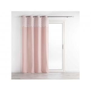 Krásny ružový záves s ozdobným vzorovaným pásom 140 x 240 cm