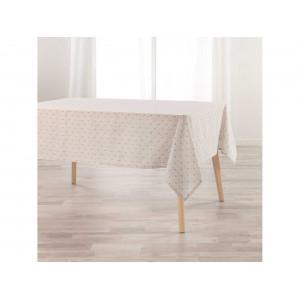 Béžový bavlnený obrus na stôl s módnym vzorom 140 x 250 cm