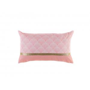 Romantický ružový dekoračný vankúš so zlatým lemovaním 30 x 50 cm