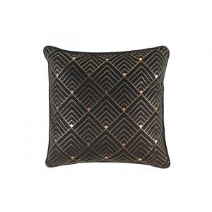 Luxusný čierny zamatový vankúš so zlatým vzorom 45 x 45 cm