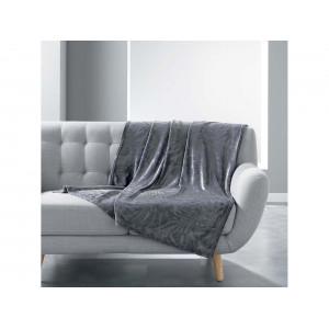 Zamatová teplá tmavo sivá deka s potlačou lístia 125 x 150 cm