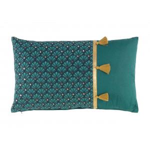 Luxusný tyrkysovo zelený dekoračný vankúš so zlatým lemovaním 30 x 50 cm